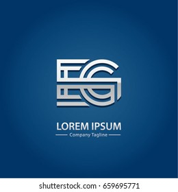 Abstract Logo Design Combinations Letter of  E and E