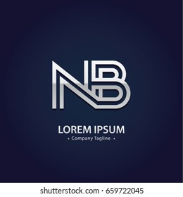 Abstract Logo Design Combinations Letter of  N and B