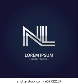 Abstract Logo Design Combinations Letter of  N and L