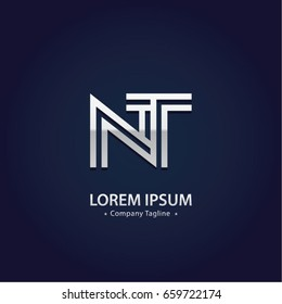 Abstract Logo Design Combinations Letter of  N and T