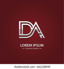 Abstract Logo Design Combinations Letter of D and A