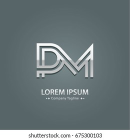 Abstract Logo Design Combinations Letter of  P and M