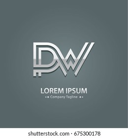 Abstract Logo Design Combinations Letter of  P and W