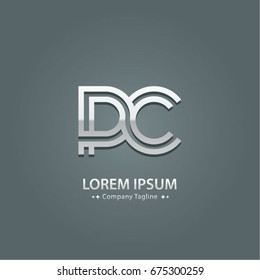 Abstract Logo Design Combinations Letter of  P and C