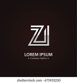 Abstract Logo Design Combinations Letter of  Z and I