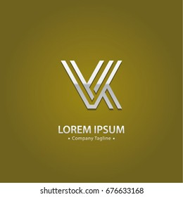 Abstract Logo Design Combinations Letter of V and K