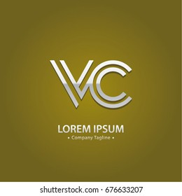 Abstract Logo Design Combinations Letter of V and C