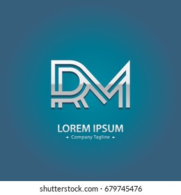 Abstract Logo Design Combinations Letter of  R and M
