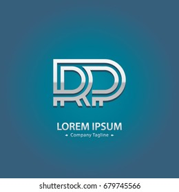 Abstract Logo Design Combinations Letter of  R and P