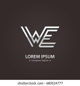 Abstract Logo Design Combinations Letter of  W and E