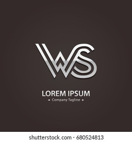 Abstract Logo Design Combinations Letter of  W and S