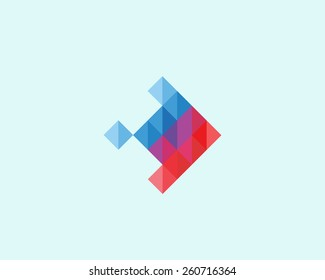 Abstract logo design. Fish colorful symbol.  polygon vector icon