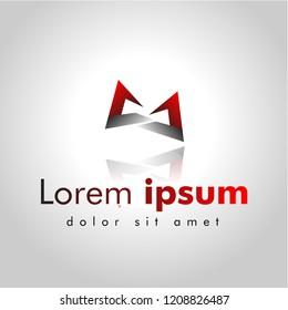 abstract logo design, symbol arrow, vector illustration graphic design ,  gradient color red white