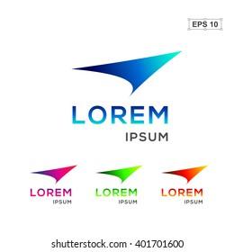 Abstract logo design template. Fly arrow or plane logo