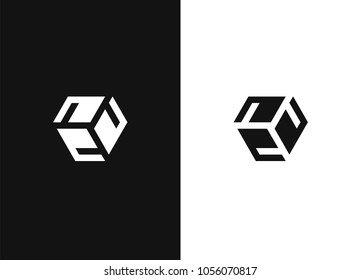 Abstract logo design template. Monochrome creative hexagon sign. Universal vector icon logotype. Business identity element.