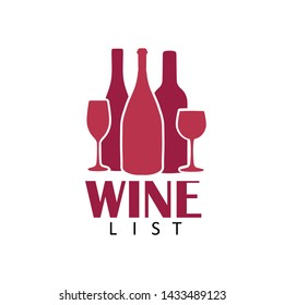 Abstract logo design template. Wine bottles and glasses vector icons. Concept for menu list,bar menu, party, alcohol drinks, celebration holidays.