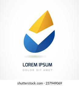 Abstract logo design template. Yellow and blue oil industry drop icon. Business,  technology, nature, ecology symbol.