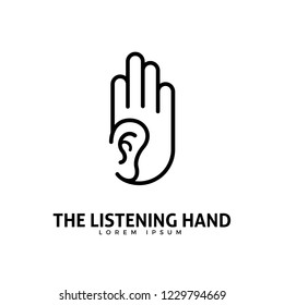 Abstract logo of an ear inside the hand