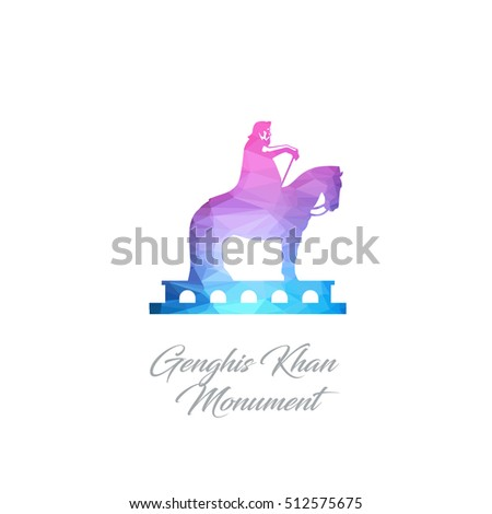 Abstract Logo Genghis Khan Monument Landmark Stock Vector Royalty