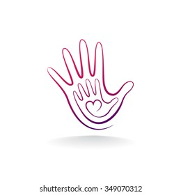 Abstract logo heart in a hand. Stylized pattern line. Vector illustration.