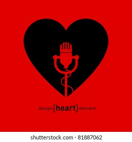 Abstract logo. Heart with microphone, company design symbol.