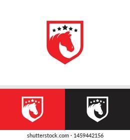 Abstract Logo Horse with shield - vector icon - Animal logo horse