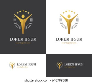 Abstract logo with human figure and stars in golden color. Contest winner symbol or champion award design concept.