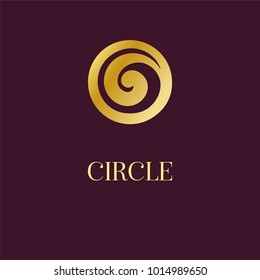 Abstract logo icon design. Elegant Golden Circle Spiral symbol. Template for creating unique luxury design, logo, artwork, exhibitions, auctions, corporate products, yoga studio, boutique, spa center