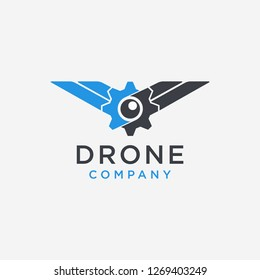 Abstract logo icon eye + gear + wing, for drone logo