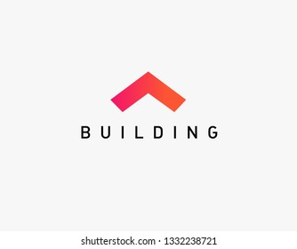 Abstract logo icon roof geometric angle construction gradient