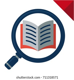 Abstract logo icon with search concept, reading, reviewing book. Illustrated with a magnifying glass and open book.