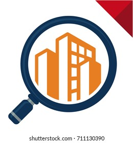 Abstract logo icon with search / review / inspection concept, for real estate / building inspector business, illustrated with magnifying glass and building