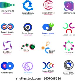 Abstract Logo Icons Set - Isolated On White Background