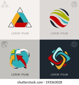 "Abstract logo Icons Set and Vector Illustration, Business, Globe, Web, Info Symbols. ""Lorem Ipsum"". Graphic Design Editable For Your Design."