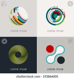 "Abstract logo Icons Set and Vector Illustration, Business, Globe, Web, Info Symbols. ""Lorem Ipsum"". Graphic Design Editable For Your Design."