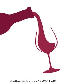 Abstract logo or illustration. Red wine pouring from bottle to glass. Flat vector illustration isolated on white background.