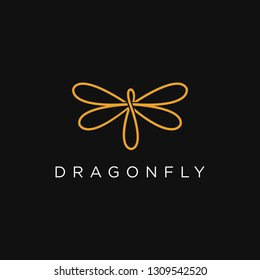 Abstract logo inspiration of dragonfly  with line art style
