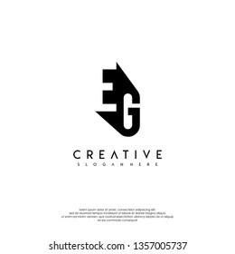 abstract EG logo letter in shadow design concept