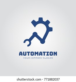 Abstract logo on the theme of automation with a gear and robotic industrial hand