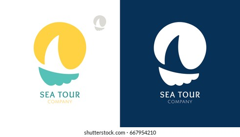 Abstract logo of a sailboat with sun. Vector icon ship in the sea with text. Round emblems for design of business, holiday, travel agency, yachting club, voyage, round trip and cruise concept.