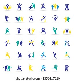 Abstract Logo Set. Human Figure Isolated On White Background. Icons Of Success, Character, Celebration, Achievement And Activity. Vector Illustration Concept Of People Logos, Graphic Design