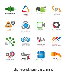 Abstract Logo Set - Isolated On White Background - Vector Illustration, Graphic Design. Collection Of Flat Icon, Logo Template, Business Sign And Science Symbol. Abstract Concept