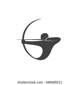 Abstract logo template Archer. Vector illustration of Sagittarius.