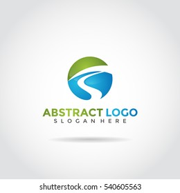 abstract logo template design. street concept, blue and green color glass style. Vector Illustrator eps.10