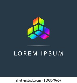 Abstract logo vector design, creative colored icon. Modern logotype, business corporate template