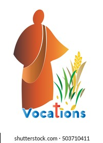 Abstract logo for vocations, with the figure of sower sowing seeds