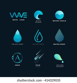 abstract logo water wave geometric line nature elements vector energy
