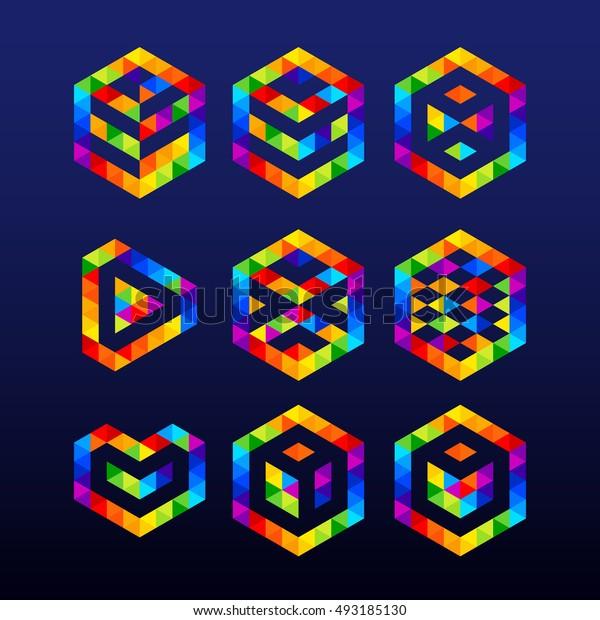 Abstract Logos Design.Hexagon logo