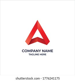 Abstract Logos Such As a Triangle Or A Letter With a Red Gradient