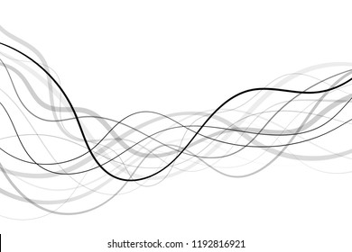 Abstract long curly and wavy black lines transparent background